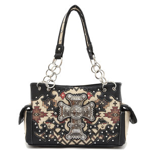 Western Aztec Print with Cross Handbag
