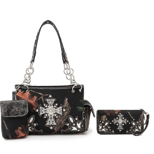 Cross Camo Western Handbag & Wallet SET