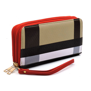 PLAID CHECK ZIP AROUND WALLET WRISTLET