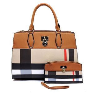Plaid Check Print Padlock 2-in-1 Satchel