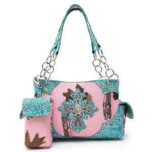 Western Pink Leaves & trees With Cross Handbag