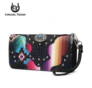 Western  Zip Around Wallet Wristlet
