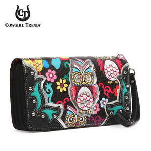 WESTERN OWL DOUBLE ZEPPER WALLET